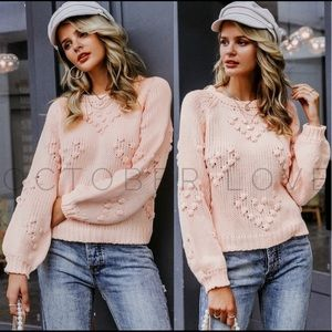 Pale pink Pompom sweaters!  Lightweight!